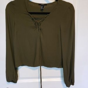 F21 • Olive Peasant Blouse